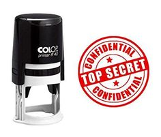 CONFIDENTIAL & TOP SECRET Stamp Self Inking Colop Round Stamper- Red Ink Office Stationary 40 mm