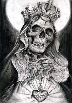 tat idea muerte tatting, santa muerte and tattoo - santa muerte sketch Skull Tattoo Design, Skull Tattoos, Body Art Tattoos, Sleeve Tattoos, Chicano Art Tattoos, Tattoo Sketches, Tattoo Drawings, Santas Tattoo, La Santa Muerte Tattoo