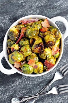Two of a Kind | Roasted Brussels Sprouts with Bacon and Honey-Sriracha Glaze | http://www.twoofakindcooks.com