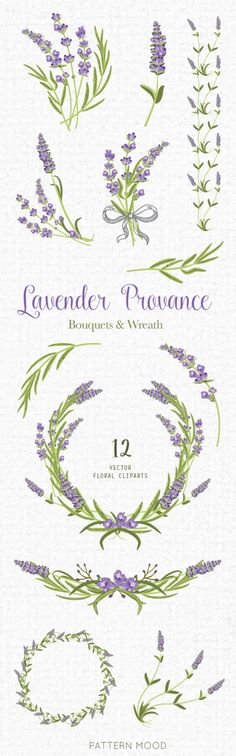 Lavender Provence Elements clipart floral wedding by PATTERNMOOD