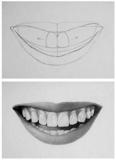 Pencil Portrait Mastery - How to draw teeth - Discover The Secrets Of Drawing Re. Pencil Portrait Mastery – How to draw teeth – Discover The Secrets Of Drawing Realistic Pencil Pencil Art Drawings, Realistic Drawings, Art Drawings Sketches, How To Draw Realistic, Art Illustrations, Face Pencil Drawing, Hard Drawings, Rose Drawings, Animal Drawings