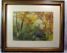 http://stores.ebay.com/mariasantiqueandvintage Vintage Signed Original Watercolor Painting by Emilee Felknor Scenic Landscape