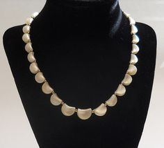 Vintage Unique Mother of  Pearl Gold tone Necklace