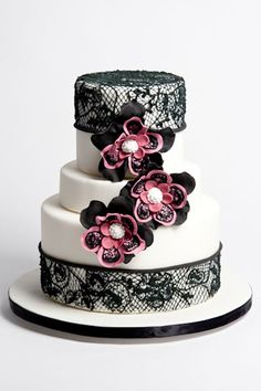 Black Lace Bridal Shower Cake by By Sugar Couture http://www.sugar-couture.com/