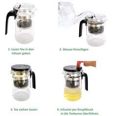 Die Infuser Technologie:  Tee-Zubereitung mit der 500 ml Glas Teekanne der Marke SAMADOYO