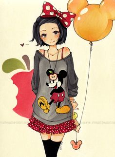 Anime Illustrations by Cartoongirl7 **i think would be a cute idea to do in real life as an outfit, adorable