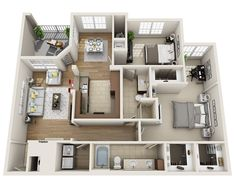 View stylish 1 Bedroom & 2 Bedroom floor plans, pricing and availability at Lenox Farms House Floor Design, Sims House Design, 3d House Plans, Model House Plan, Apartment Layout, Apartment Plans, Home Design Plans, Plan Design, Dorm Design