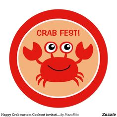 Shop Happy Crab custom Cookout invitations created by PizzaRiia. Personalize it with photos & text or purchase as is! Beach Humor, Funny Beach, Invitation Cards, Invitations, Round Stickers, Sea Creatures, Paper Plates, Party Hats, Art For Kids