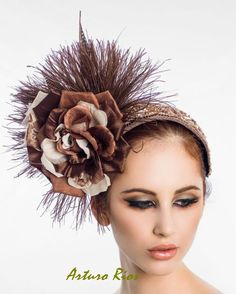 b2340ee178f Items similar to Brown  champagne Fascinator