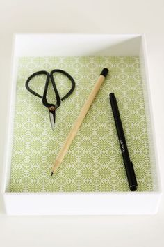 5-Minute DIY | Paper-Lined Desk Tray ~ Lulu the Baker