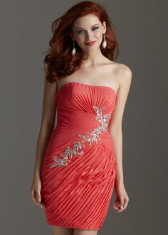 Free Shipping for Clarisse 2201 coral strapless pleated short homecoming dresses available now at RissyRoos.com.