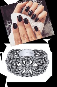 An edgy black nail polish paired with a 14k White Gold Lusso Diamond Fashion Ladies' Ring.