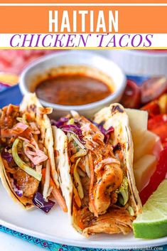 Insanely delicious Haitian Chicken Tacos that's loaded with juicy, slightly spicy tender chicken thigh strips, and topped with vibrant, refreshing pikliz as well as accompanied with marinated tomatoes. Perfect for Taco Tuesdays. Haitian Food Recipes, Asian Recipes, Mexican Food Recipes, Ethnic Recipes, Donut Recipes, Marinated Tomatoes, Caribbean Recipes, Caribbean Food, Southern Recipes