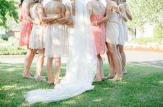 Summer garden wedding with pink mismatched bridesmaid dresses