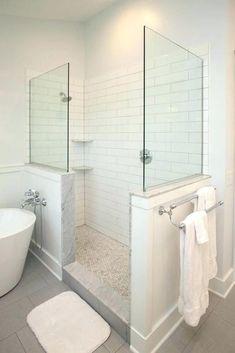 subway tile white subway tile walk in shower 4 x 16 matte white subway tile 28 Inspirational Walk in Shower Tile Ideas for a Joyful Showering walkinshower showertile showerideas bathroom bathroomtileideas bathroomideas buytiles 739434832552564640 Tile Walk In Shower, White Subway Tile Bathroom, Subway Tile Showers, Master Shower, Diy Shower, Master Bathroom, Bathroom Showers, White Tile Bathrooms, Walk In Shower Designs