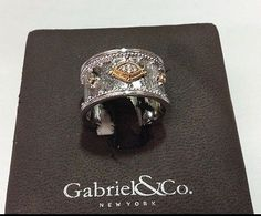 Gabriel & Co. 18k Gold and Sterling Silver Diamond  Wide Band Ring - http://designerjewelrygalleria.com/gabriel-company/gabriel-co-18k-gold-and-sterling-silver-diamond-wide-band-ring/