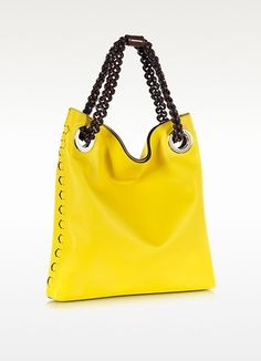 Regina Sun Yellow Leather Handbag - Roberto Cavalli
