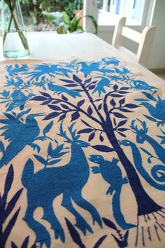 Limited edition Collector's Blue and navy blue by CasaOtomi, www.casaotomi.com Tenango, Otomi, Casa otomi, Casaotomi, Mexican Suzani, Mexican, wedding, Textile, Fabric, Hand Embroidered, embroidery, table runner, cushion, pillow, authentic, wall hanging,