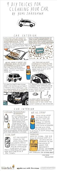 9 DIY Tricks for Cleaning Your Car - cola removes bugs, WD-40 for grime and stickers, as well as greasy spots on upholstery | The Secret Yumiverse