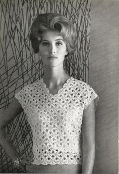This is a Vintage Crochet Lace Motif Blouse Pattern from 1969.The crochet top features a Lace Motif, Cap Sleeves, and V neckline. Sexy,
