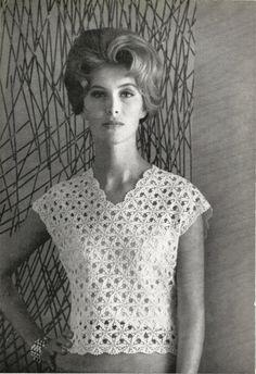 1960s Crochet top pattern with Lace Motif by CrochetPatternRewind, $2.50