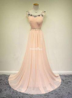Pretty pale pink Chiffon Prom Dress With Jewels - pinkyprom.uk