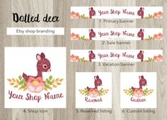 Etsy shop banner set, premade deer banner, watercolor fawn, flowers shop graphic, deer vintage banner, pastel colors, dotted banner, shabby by  GiuliaBelfioriGadget