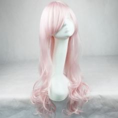 Women Light Pink Inclined Bang Fashion Pink Long Wavy Costume Wig - One Size Costume Wigs, Cosplay Wigs, Costumes, Buy Wigs Online, Pink Fashion, Womens Fashion, Lover Fashion, Wig Party, Long Curly