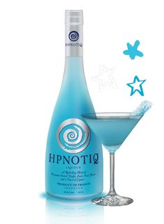 Hpnotiq - It's in the highest class of cocktail lounges. Made from vodka, cognac and fruit juices, this tropical drink is soft alcohol with a light blue color. HPNOTIQ is a summer-time poolside liquor.