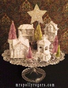 How to make Dollar Store Christmas houses look vintage.  Village #4 featured