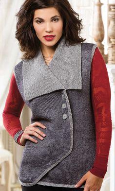 Balla Vest by Tabetha Hedrick, knit in Berroco Elements, Creative Knitting Autumn 2014