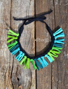 Turquoise Green Rainbow Colorful Tribal Fringe Ooak Bib Necklace  -  Statement Knotted Recycled Fabric Jewelry upcycled fiber necklace