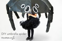 Oh my gosh ...this is the cutest costume....You could also do octopus or jelly fish...love it...DIY umbrella spider halloween costume
