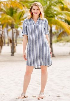 Cato Fashions Look & Dresses : Brunch to Beach - Stripes are done right with this lightweight linen dress. Brunch to Beach - Stripes are done Linen Shirt Dress, Striped Shirt Dress, Linen Dresses, Dressy White Blouses, Kurti Designs Party Wear, Pretty Outfits, The Dress, Fashion Dresses, Fashion Looks
