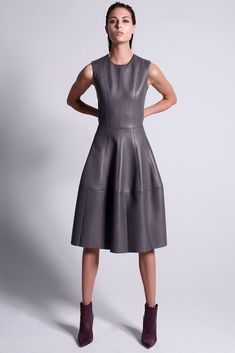 New Spring Women A Line Empire Waist Tunic Party Prom Work Mini Skirt Dress Fall 2015 Trends, Leder Outfits, Mini Skirt Dress, Leather Dresses, Stylish Dresses, Fashion Show, Fashion Design, Leather And Lace, Lambskin Leather