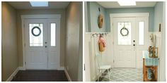 Board-and-batten wainscoting is an easy way to add a dramatic dose of farmhouse charm to an entryway.  Get the tutorial at The Home Depot