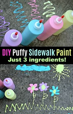 Make this easy DIY puffy sidewalk paint to get the family outdoors and spend tim… – Summer crafts – Kids Craft & Activities Summer Activities For Kids, Fun Crafts For Kids, Summer Kids, Diy For Kids, Easy Crafts, Outside Activities For Kids, Babysitting Activities, Kids Outdoor Crafts, Diy Projects For Kids
