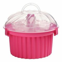 Premier Housewares 3-Tier Cupcake Carrier - Hot Pink by Premier Housewares, http://www.amazon.co.uk/dp/B00FCQQBE6/ref=cm_sw_r_pi_dp_02e1sb12SPDPH - a cute way to transport cupcakes - and no more excuses for me not to bring them to our Church potlucks!