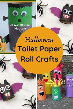 Halloween Toilet Paper Roll Crafts helps you make some brilliant halloween decor for kids | Halloween Crafts for Kids Halloween Activities, Halloween Kids, Fun Halloween Crafts, Halloween Party, Halloween 2020, Halloween Art Projects, Halloween Treat Bags, Fall Crafts, Learning Activities