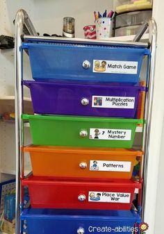 Math centers are fun but they can be messy Find four ways to organize and store your math center supplies in this post Plastic storage bins wheel carts soap containers an. 3rd Grade Classroom, Primary Classroom, First Grade Math, Elementary Teacher, Grade 3, Upper Elementary, Third Grade, Craft Organization, Classroom Organization