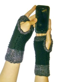 Blue Grey Brown & Black Fingerless Wrist Warmer by NadiasKnits, $22.00