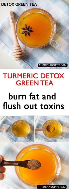 Simple to make turmeric detox green tea to burn fats and flush out toxins. Easy to make turmeric detox green tea to burn fats and flush out toxins. Detox Tea Diet, Green Tea Detox, Detox Diet Drinks, Healthy Drinks, Healthy Detox, Green Teas, Smoothie Detox, Easy Detox, Healthy Food