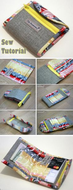 Purse Tutorial Sewing Purse Wallet ~ How to sew free tutorial for beginners. Ideas for sewing projects. Step by step illustration. Sewing Projects For Beginners, Sewing Tutorials, Sewing Hacks, Tutorial Sewing, Sewing Tips, Bag Tutorials, Sewing Patterns Free, Free Sewing, Free Pattern