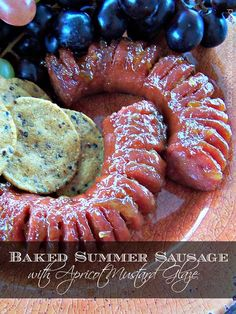 Fall comfort food at its best! Baked Summer Sausage with Apricot Mustard Glaze Sausage Appetizers, Light Appetizers, Yummy Appetizers, Appetizers For Party, Yummy Snacks, Appetizer Recipes, Yummy Food, Christmas Appetizers, Christmas Parties