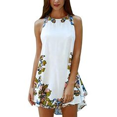 Cheap vestidos de fiesta, Buy Quality dress summer directly from China woman dress summer Suppliers: Womens Dresses Summer Style 2018 New Arrival Floral Printed Casual Sleeveless Party Beach Short Mini Dress Vestidos De Fiesta Casual Cocktail Dress, Womens Cocktail Dresses, Short Mini Dress, White Mini Dress, Summer Dresses For Women, Trendy Dresses, Dress Summer, Mini Dresses, Women's Dresses