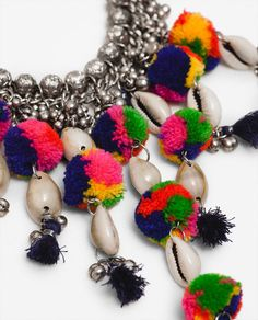 Image 2 of COLORFUL POMPOM AND BEAD NECKLACE from Zara