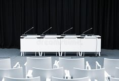 Photo about Monochrome picture of empty press conference room with seats, stand table and microphones. Image of microphones, presentation, convention - 76774228 Manchester United Stadium, Limbo, Conference Room Design, Typography Design, I Am Awesome, Design Inspiration, Stock Photos, Empty, Press Ad