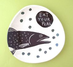 Eat Your Peas Fish Plate
