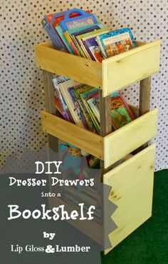 Lip Gloss and Lumber: DIY Bookshelves from Old Dresser Drawers, a spontaneous Sunday building project