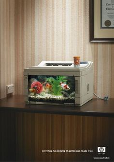 Put your old printer to better use - trade it in. Clever HP advertisement.